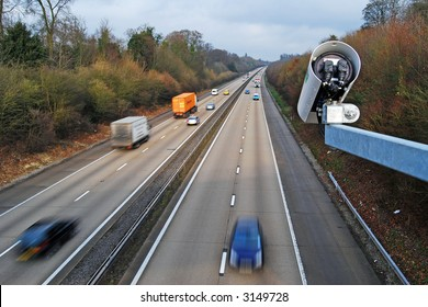 A speed camera on the motorway
