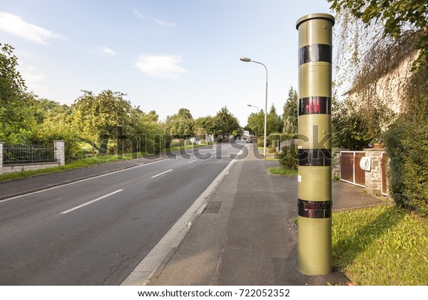 Speed camera on the side walk in a german town