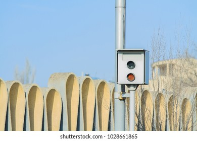 Speed camera on a street in the city.