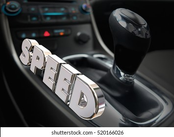 Speed Car Auto Gear Shift Interior Fast Performance Word 3d Illustration