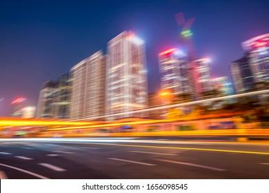 Speed effect of city night in Shenzhen Financial District