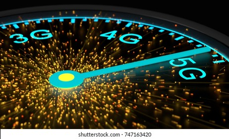 Speed instrument in blue reaching maximum 5G communication speed emitting sparks from the center 3D illustration