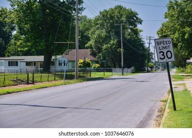 Speed limit 30 sign in Carterville city, Missouri
