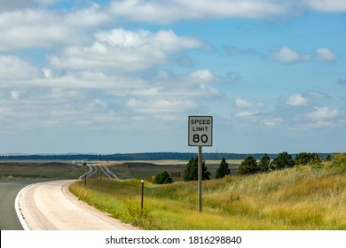 Speed limit 80 MPH sign on interstate 90 in Wyoming, horizontal