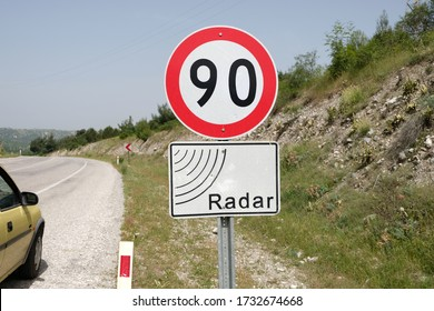 Speed Limit and Radar Warning Traffic Signs
