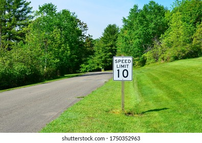 Speed Limit sign 10 mph on the roadside for a Park in upstate New York, USA