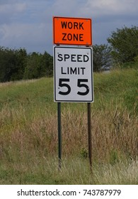 Speed limit and Work Zone sign erected on the roadside usually posted where construction or road repair is in progress.