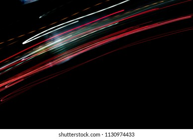 Speed motion abstract background in the dark night,light lines with long exposure