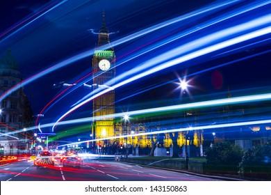 Speed motion at night London, blue light - London City Street Abstract Light