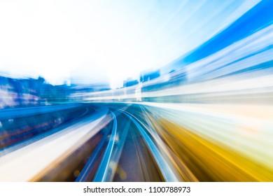 Speed motion in urban highway road tunnel - Shutterstock ID 1100788973