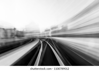 Speed motion in urban highway road tunnel - Shutterstock ID 1100789012
