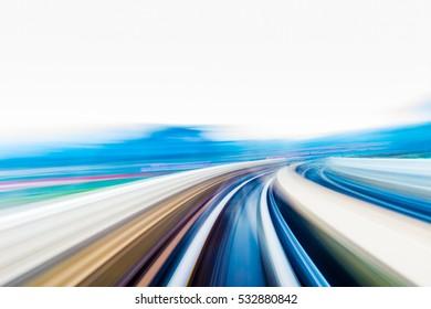 Speed motion in urban highway road tunnel - Shutterstock ID 532880842