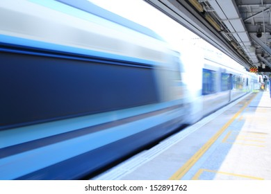 speed of mtr train pass though the platform background in hong kong, Tai Wan train station, china