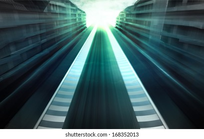 speed racetrack in business city in evening motion blur wallpaper illustration