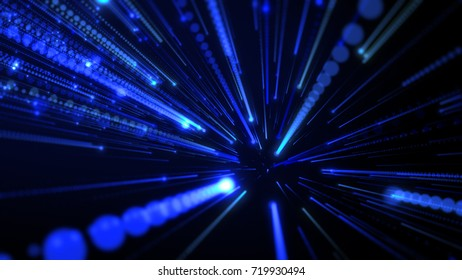 Speed Shiny Particles Space Explosion Background. Dot and line consisting of radial abstract graphics. Abstract multicolored zooming lines or ray burst background