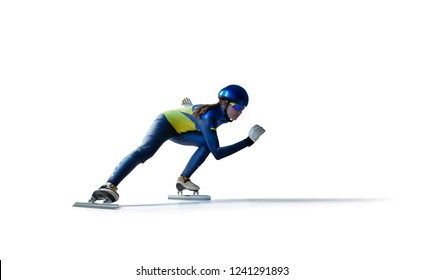 speed skating sport isolated