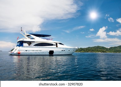 speedboat cruising in tropical sea