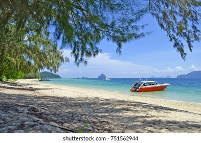 Speedboat on the beach at Koh Kradan
