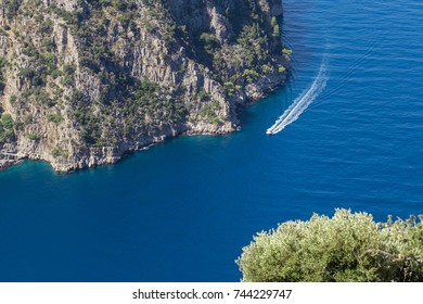 Speedboat on the coast of Mediterranean Sea