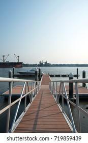 Speedboat prepare at pier and sunrise