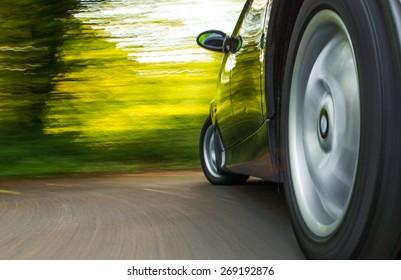 Speeding car.