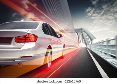 Speeding car, driving on the Highway Bridge in Asia