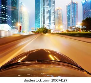speeding car go through the city