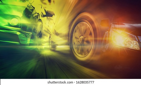 Speeding car is green power with copy space. Low angle side view of car driving fast on motion blur, Double Exposure Photo