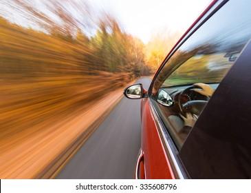 speeding car with motion blur background.