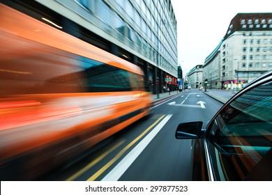 Speeding in city.