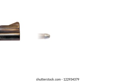 Speeding silver bullet.Gun barrel firing a bullet.Motion blur of bullet indicates high speed.Concept suggests finding a quick fix or solution to a problem.Isolated on a white background.Room for text.