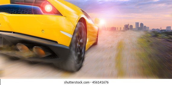 Speeding with sport car in countriside
