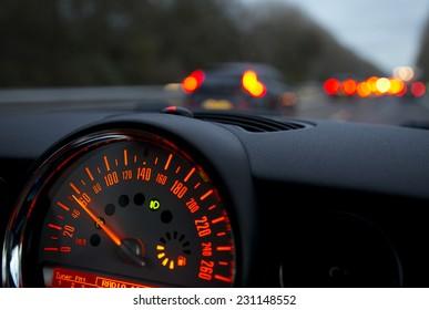 Speedometer in a Car Close up.