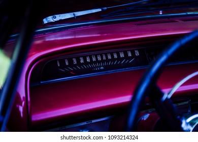 Speedometer display on a vintage car