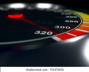 Speedometer with high level of speed, maximum boost value. Metallic body. 3D rendering.