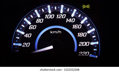 Speedometer of light in Car Interior on night time.