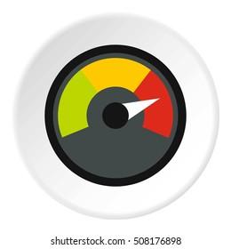 Speedometer at maximum speed icon. Flat illustration of speedometer at maximum speed  icon for web