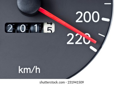 Speedometer pointer near 220 km. per hour and trip count shown 2014 to 2015 : Concept idea is speed up to A.D. 2015