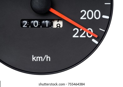Speedometer pointer near 220 km. per hour and trip count shown 2017 to 2018 : Concept idea is speed up to A.D. 2018