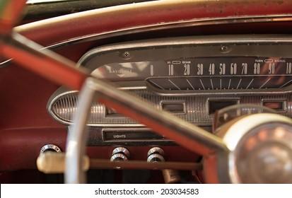Speedometer of vintage car
