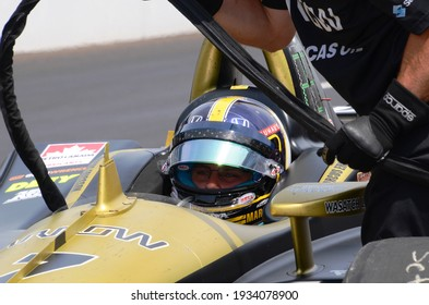 Speedway, IN, USA - May 24, 2019:  IndyCar driver Marcus Ericsson sits in his car during Carb Day practice before the 2019 Indy 500 at Indianapolis Motor Speedway.