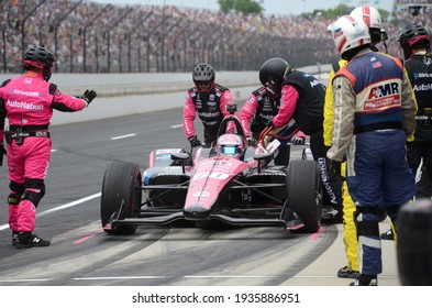 Speedway, IN, USA - May 26, 2019:  IndyCar driver Jack Harvey makes a pit stop during  the 2019 Indy 500 at Indianapolis Motor Speedway.