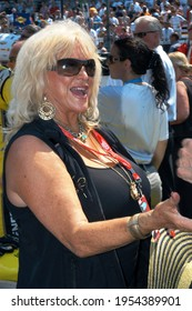Speedway, IN, USA - May 27, 2012:  Legendary auto racing model and spokesperson Linda Vaughn makes an appearance at the 2012 Indy 500 at Indianapolis Motor Speedway.