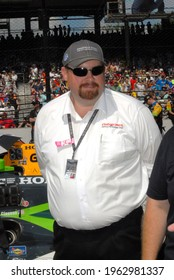 Speedway, IN, USA - May 29, 2016:  IndyCar team sponsor Jonathan Byrd awaits the start of the 2016 Indy 500 at Indianapolis Motor Speedway.