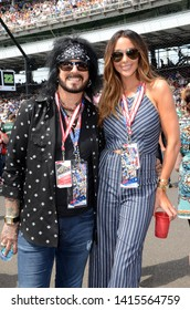 Speedway, IN/USA - May 28, 2017: Nikki Sixx, bassist and founding member of the hard rock band Motley Crue, and his wife Courtney were celebrity guests at the 101st running of the Indy 500.