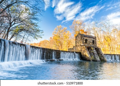 Speedwell dam waterfall, on Whippany river, along Patriots path, in Morristown, New Jersey