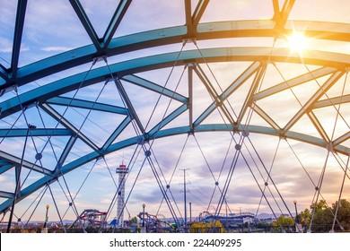 Speer Boulevard Platte River Bridge in Denver Colorado, United States.