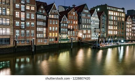 Speicherstadt Hamburg, Evening, lights