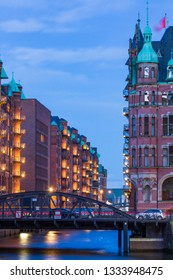 Speicherstadt UNESCO Site at blue hour in twilight