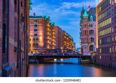 Speicherstadt UNESCO Site in Hamburg at blue hour in the evening